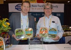 Ben Alviano and Scott Wise with Mann Packing proudly show the Nourish Bowls that won the Best New Product Award.