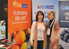 Monserat Valenzuela and Karen Brux from Chilean Freesh Fruit Association promote the citrus industry from Chile. The season looks very good with more manadarins coming.