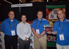 The blue shirt team of Sage Fruit Company: Chuck Sinks, Steve Kuebler and Joe Aronica. Second from left is Michael Baird with Loblaw.