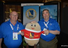 Proudly representing potatoes: Ken Tubman and Seth Pemsler with the Idaho Potato Commission.