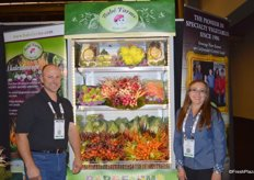 Jeff Lundberg and Rocio Munoz from Babe Farms proudly showing a selection of the company's many specialty vegetables. Cone head cabbage is the company's latest introduction.