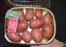 A new product from Fresh Solutions Network: microwaveable potatoes for two, complete with seasoning.
