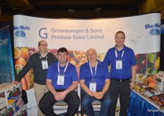 In the blue shirts Dwayne Coffin, Ted Groenewegen and John van der Zwaag with Groenewegen & Sons Produce Sales. Far left: Randy Visser with Gerrit Visser & Sons.