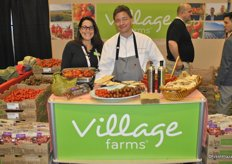 Helen Aquino and Chef Darren Brown from Village Farms. Chef Darren sampled some of his recipes