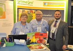 Bev, Roy and Grant Ferguson from Chantler Packaging promoting the PrimePro packaging (shelf life extender) and Enduropouch 1.6