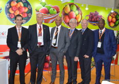 South Africa is well represented in Beijing. From left to right, Derek Donkin, CEO Subtrop, Willem Bestbier, CEO SATI, Lucien Jansen, CEO PPECB, Anton Kruger, CEO FPEF, Justin Chadwick, CEO Citrus Grower's Assocation and Mano Mashaba, CEO Fruit South Africa.