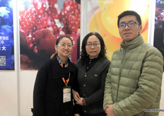 Jane Ping, Logistics Manager, Ling Niuxian, General Manager and He Weiguo of Fruitkii, a fruit sources, packer and distributor from Henan in Central China.