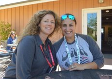 Sara Palmisano with C&S Wholesale Grocers and Raquel Mello with Hapco Farms attend the Driscoll's tour.