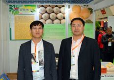 Tom Guo and Li Mengchi of Botou Dongfang, a pear producer from Hebei province