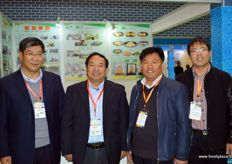 Present at the stand of Botou Yafeng are Song Gang, Qiang De, Li Wenhong and Wang Zhongjiang. The company grows pears for export.