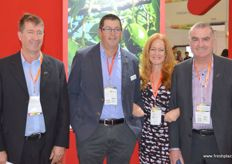 It is crowded in the New Zealand Pavillion with Allan Pollard of PipFruit, Jen Scoular, Ashby Whitebread and Roger Gilbertson, aslo PipFruit