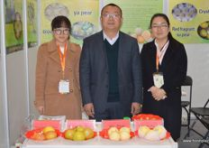 Gloria, Kou Bin, General Manager, and Snower of Botou Lihong Fruit, a pear grower from Hebei Province.