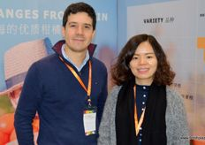 Erik Zuloaga and Lucy Liang of Tradelements, an import of Spanish citrus into Shanghai