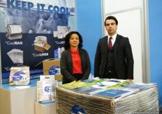 """International Sales Manager Guliz Yildiran with Irfan Esgun of Ozerden Plastik San (Turkey); established in 1958 and attended the fair to promote their ""Coolpack"" products."""