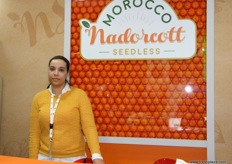 Manager Sabrina Zouhry of APNM (Morocco); launched their new label - MNS (Morocco Nadorcott Seedless).