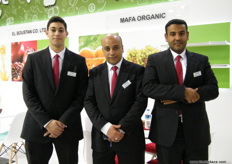 From MAFA Organic: Assistant Commercial Director Youssef El Maghraby (l), Asst. Export Manager Mohamed El Fahram and Export Manager Ibrahim El Banna. MAFA has a wide range of organic products recognized as in compliance to Tesco Natures Choice, M&S Field to Fork, as well as Fairtrade.