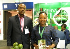 At the Kenyan pavilion: Finance Manager Simon Mathenge of Spring Fresh Growers with Director Magdalina Kamau; both companies offer avocadoes for export.