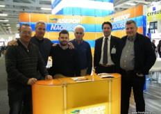 Sales Manager Vassilios Bugas (right) with colleagues at the ASEPOP Naoussa stand (Greece).