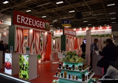 The Hungarian stand with a display of exhibitor products.