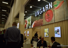 Visitors making new contacts at the Hungarian stand.