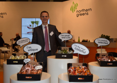 Soren Terndrup Hansen from Northern Greens, showing the new vegetables added to their snack vegetable line, including a sweeter celery.