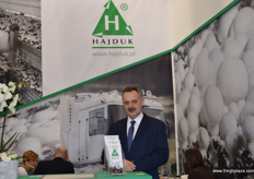 Piotr Strzelecki from mushroom producer Hajduk, steps away for one of his many meetings with clients for a quick photo.