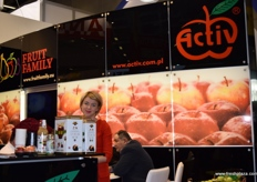 Emilia Mierzwinska from Activ/Fruit Family, giving visitors an opportunity to taste some of their many flavours of apple juice, including mint.