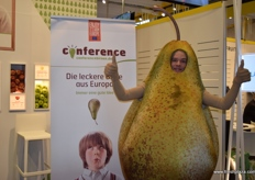 A conference pear greeting customers at the 'Enjoy it's from Europe' stand.