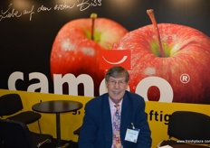 Adrian Barlow at the Cameo stand. The apple was developed for its great taste and long storage properties.