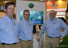 Jepo were newcomers to the UK pavilion this year. They are salad growers in the UK with 11,000 acres of irrigated land. On hand were: Richard Dett, Adrian Britton and Tony Podan.