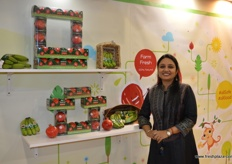 Purnima Khandelwal at the INI Farms stand with company's latest range of fruits for kids. The Kid's bananas with tatoos and pomegranate arils all with cartoon figures to catch the kid's interest.