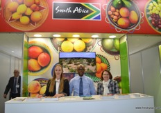 Gina Wallbach helping out on the South African stand with Yongaaela Mboxo from the DTI and Marlette Kellerman from FPEF.