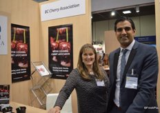 Beth Cavers and Sukhpaul Bal representing the BC Cherry Association.