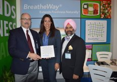 Proudly showing the BreatheWay technology are Steven Bitler, Teresa Scattini and Shehbez Singh with Apio, Inc.
