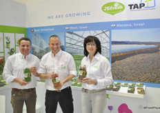 Andreas Eschbach, Avner Shohet and Margret Eschbach from 2BFresh. They just harvested fort he first time from the new greenhouse facility in Switzerland.