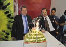 Francois Lafitte and Jean Baptiste Pinel looking proud to the birthday cake for the 40th Anniversary
