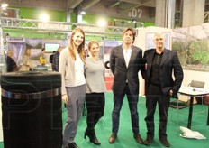 The Agrinova II srl stand (anti-hail netting and accessories) - Gloria Longoni (customer service), Arianna Santambrogio (customer service), Pierluigi Ferrari (owner) and Andreas Munjoz (sales manager).
