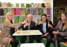 A toast at the Ciesse Paper stand with ladies Nancy e Cristinas and Fabrizio Govi (sales manager Ciesse Paper) together with Nicola Bergamo (Melinda Tyrrhenian area manager).