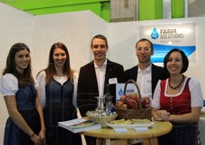 Matthias and Richard Ladenhauf among hostesses at the Farmsolution Bewasserung gmbh stand (anti-hail and anti-frost netting and irrigation).