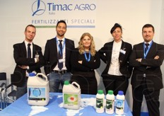 Denis Nicolato (technical sales engineer), Fabio Tressino (technical sales engineer), Chiara Barbieri (marketing manager), Laura Zattin (selection manager) and Moreno Basilico (sales manager) from Timac Agro Italia spa.