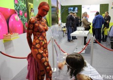 A body painting artist at work.