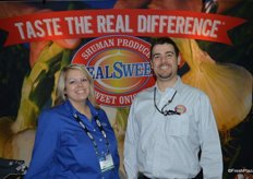 Erin Waters and Adam Brady with Shuman Produce representing the Real Sweet sweet onion brand.