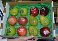 A sample box of decorated apples.