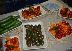 Cucumbers and tomatoes on display from Tamarin.