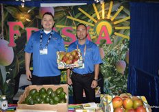 Jose Rodriguez and Hector Soltero with Freska Produce International proudly showing mangos.