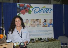 Leslie Simmons with Dave's Specialty Imports showing Cape Gooseberries and blueberries.