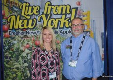 Molly Zingler and James Allen with the New York Apple Association.