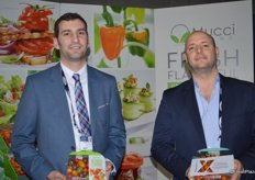 Stephen Cowan and Steve Zaccardi with Mucci Farms showing Blended Flavours and Tomato-X.
