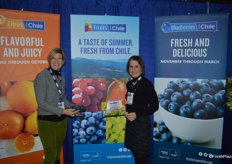 Karen Brux and Allison Myers with Fruit from Chile show Chilean blueberries. Promotable volumes should be available in the next two months.