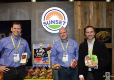 Jim Darroch, Duncan McSweeney and Peppe Bonfiglio with Sunset proudly show cocktail tomatoes, snacking tomatoes and a pasta kit. Special tomato packaging and displays have been designed for the upcoming Super Bowl.